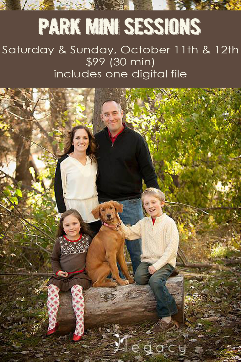 Park Mini Sessions | Saturday & Sunday, October 11th & 12th | $99 (30 min) includes one digital file.